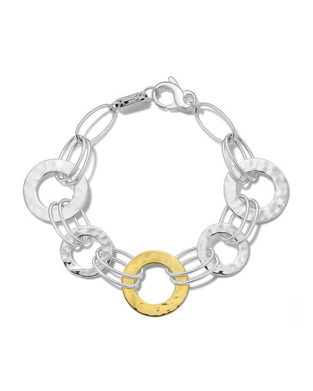 Ippolita Classico Mixed Wire and Hammered Disc Bracelet in Chimera Two-Tone