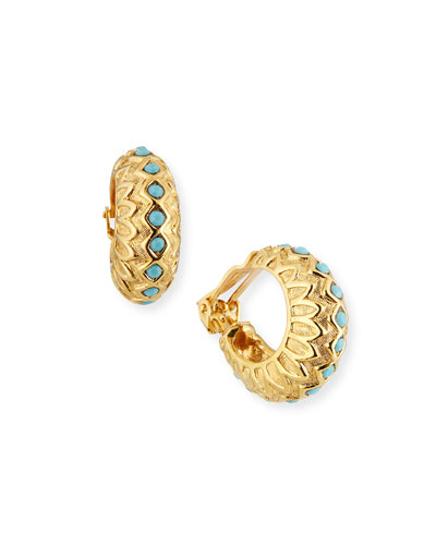 Huggie Clip Earrings, Turquoise