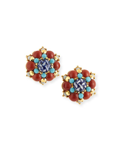Button Clip Earrings