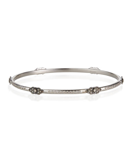 Armenta New World Midnight Bangle Bracelet with 6 Scroll Stations