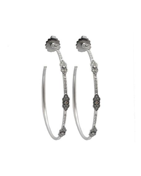 Armenta New World Diamond Scroll Hoop Earrings