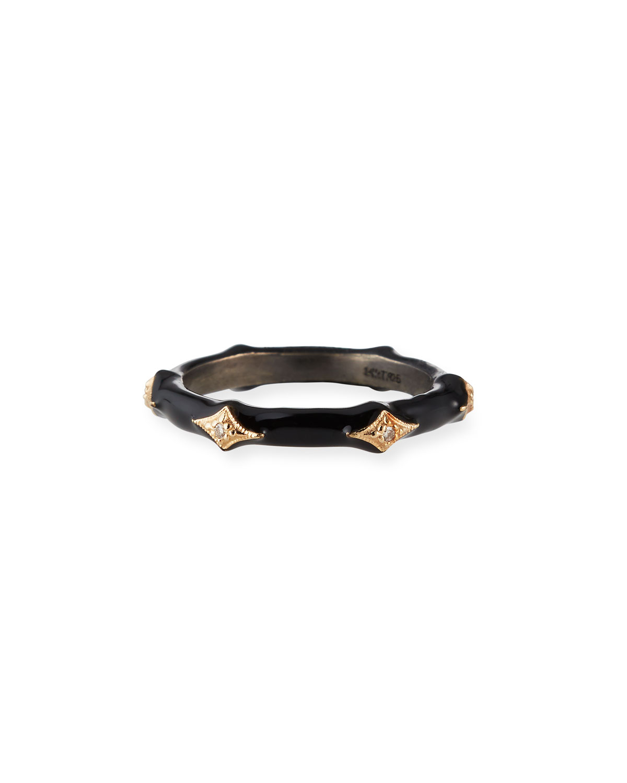 New World Diamond and Enamel Stack Ring