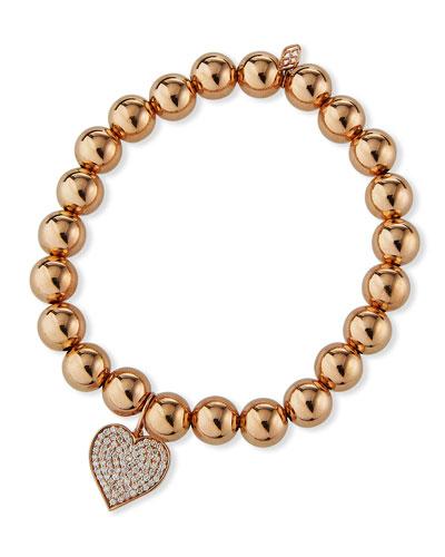 14k Rose Gold Large Diamond Heart Bracelet