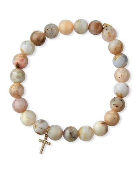 Sydney Evan 14k Pink Opal Diamond Cross Bracelet