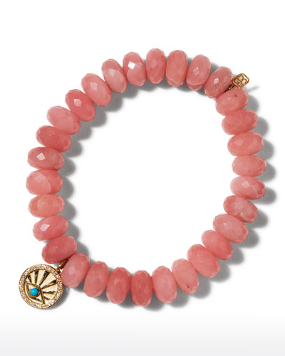 14k Turquoise Evil Eye Diamond-Trim Coin Bracelet with Guava Quartz