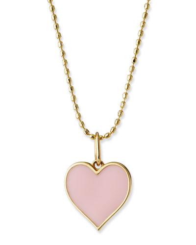14k Enamel Heart Charm Necklace, Blush