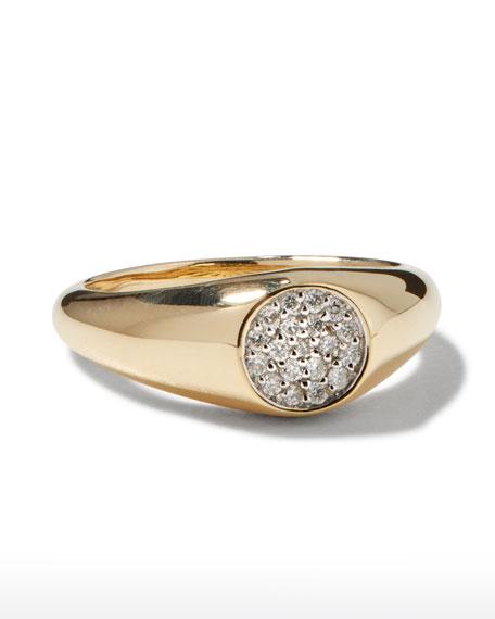 Sydney Evan 14k Round Diamond Signet Pinky Ring, Size 4 and 6.5
