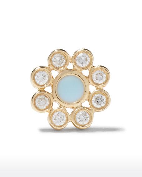 Sydney Evan 14k Diamond and Cornflower Stud Earring, Single