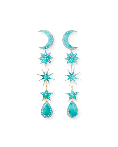 We Dream in Colour Skies Earrings, Teal