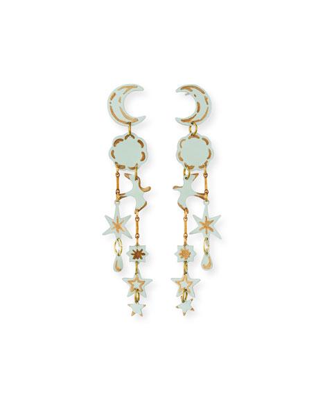 We Dream in Colour Dreamer Moon & Star Dangle Earrings, Mint