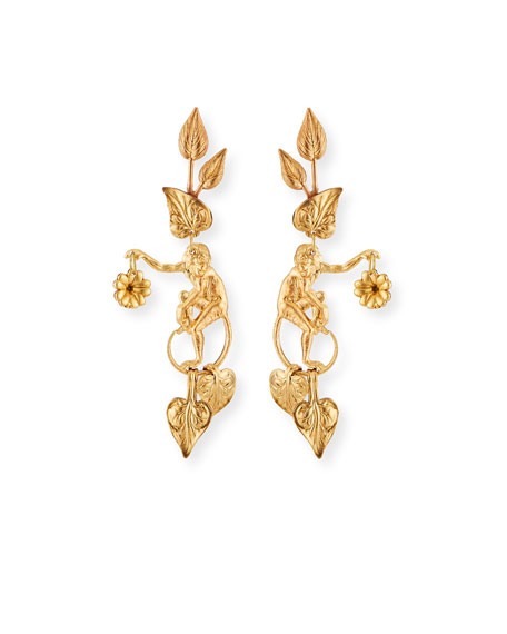 We Dream in Colour Capuchin Earrings, Gold