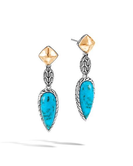 John Hardy Classic Chain Turquoise and 18k Gold Drop Earrings