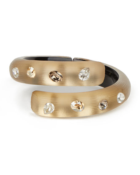 Alexis Bittar Crystal Studded Bypass Hinge Bracelet, Taupe