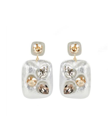 Alexis Bittar Crystal Studded Large Cushion Earrings, Silver