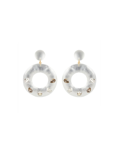 Alexis Bittar Crystal Studded Donut Earrings, Silver