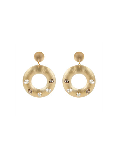 Alexis Bittar Crystal Studded Donut Post Earrings, Taupe