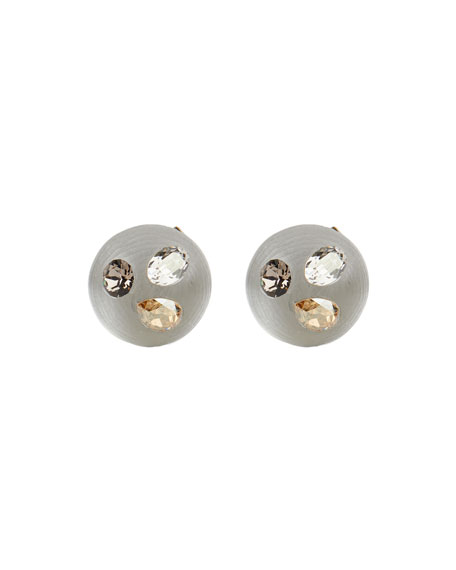 Alexis Bittar Crystal Studded Button Post Earrings, Silver