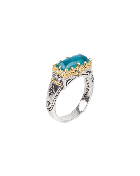 Konstantino Astria Aquamarine East-West Ring, Size 6-8