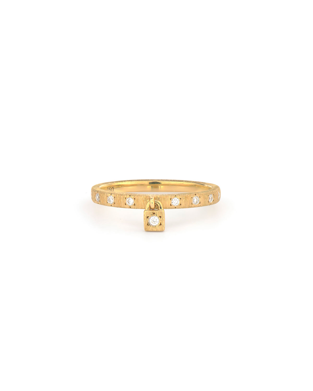 Provence 18k Diamond Band and Charm Ring