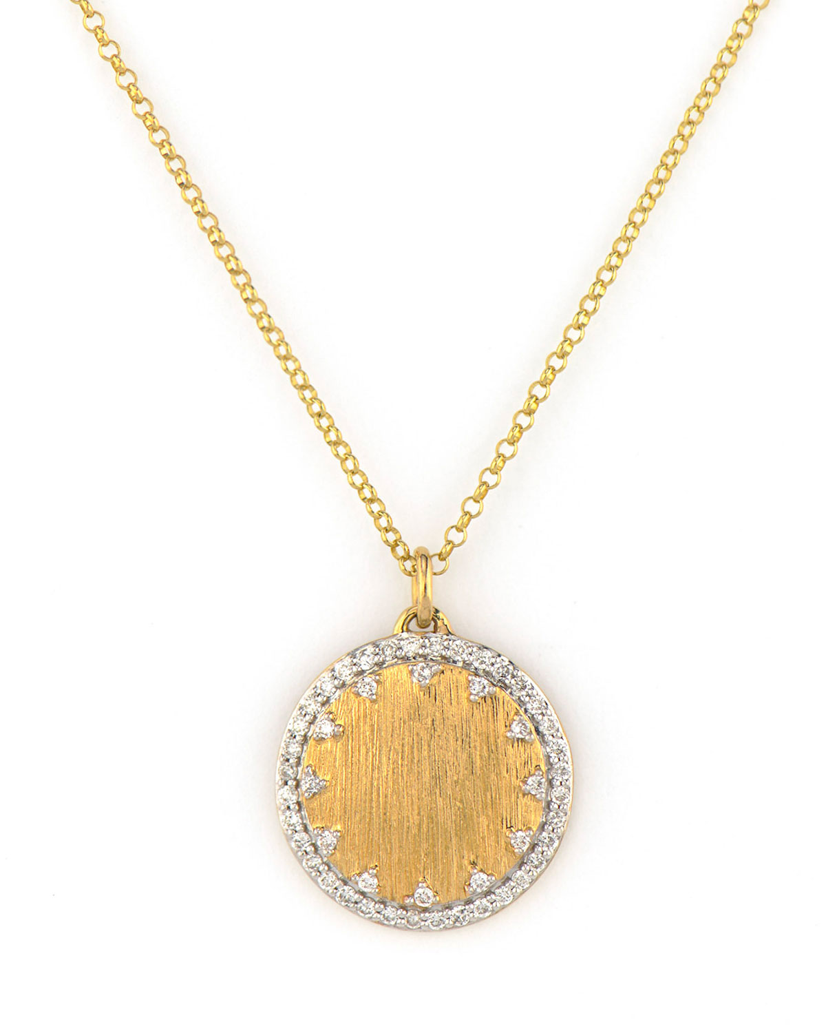 Provence Small Pave Disc Necklace