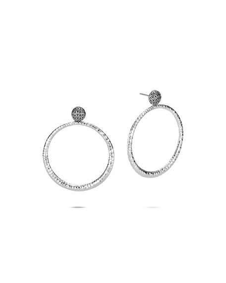 John Hardy Classic Chain Hammered Silver Round Earrings