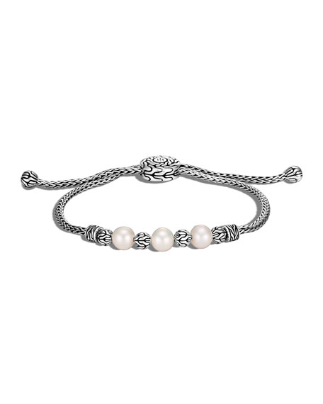John Hardy Classic Chain Pearl Pull-Through Bracelet, Size M/L