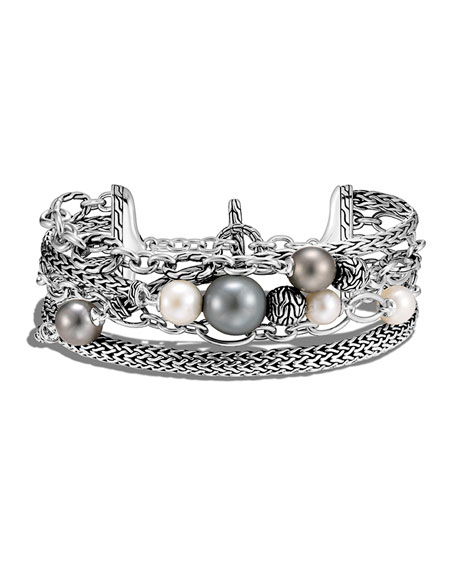 John Hardy Classic Chain Multi-Row Pearl and Chain Bracelet, Size M