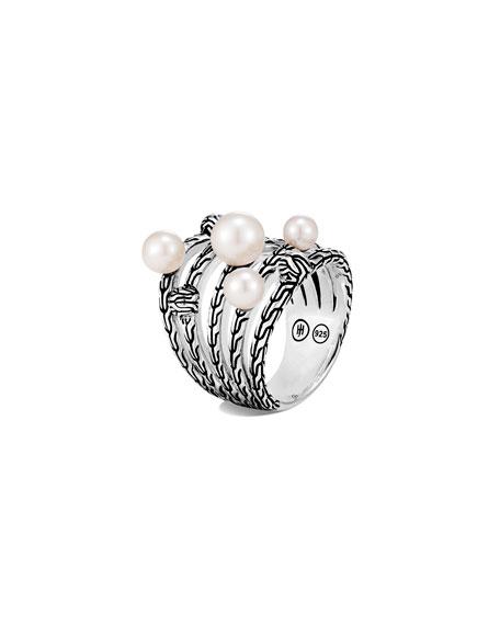 John Hardy Classic Chain Multi-Pearl Ring, Size 7