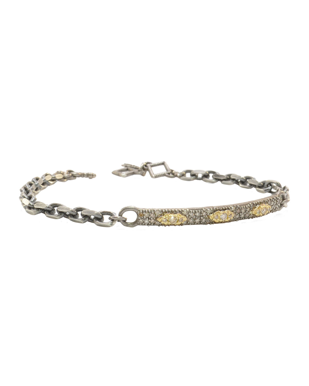 Old World ID Scroll Bracelet with Diamonds