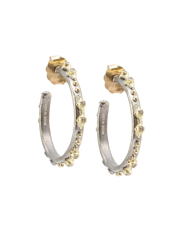 Old World Diamond Two-Tone Hoop Earrings