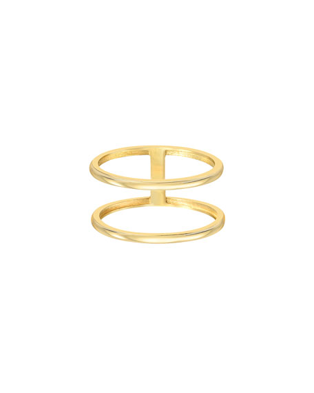 Zoe Lev Jewelry 14k Gold Double Band Ring, Size 7