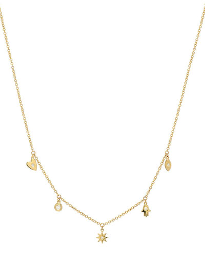 14k Gold and Diamond Charm Necklace