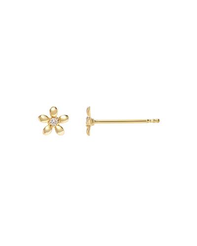 14k Gold Tiny Diamond Flower Earrings