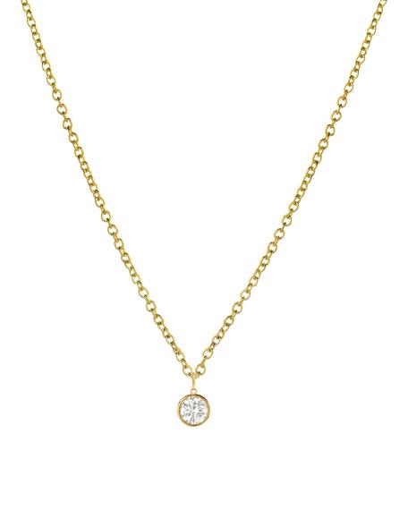 Zoe Lev Jewelry 14k Yellow Gold Small Bezel Diamond Pendant Necklace