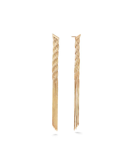 Lana 14k Braided Liquid Linear Fringe Earrings