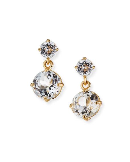 Tai Fine 14k Gold White Topaz Double Drop Earrings