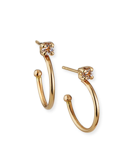 Tai Fine 14k Gold Topaz Stud Hoop Earrings