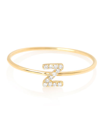 Pave Diamond Initial Ring, Size 4-9