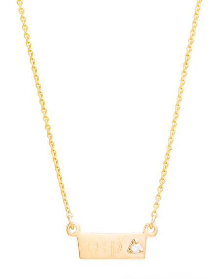 STONE AND STRAND Tiny Horizontal Bold Bar Necklace With Diamond