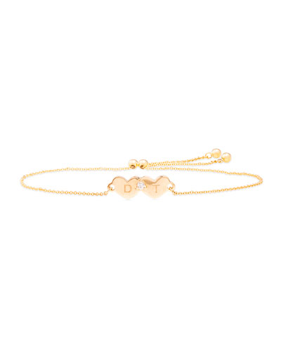 Personalized Double Heart and Diamond Slider Bracelet