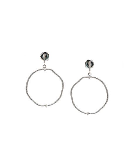 Armenta New World Diamond Pave Hoop-Drop Earrings