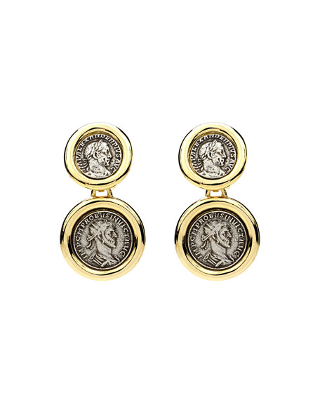 Ben-Amun Roman 2-Coin Clip Earrings