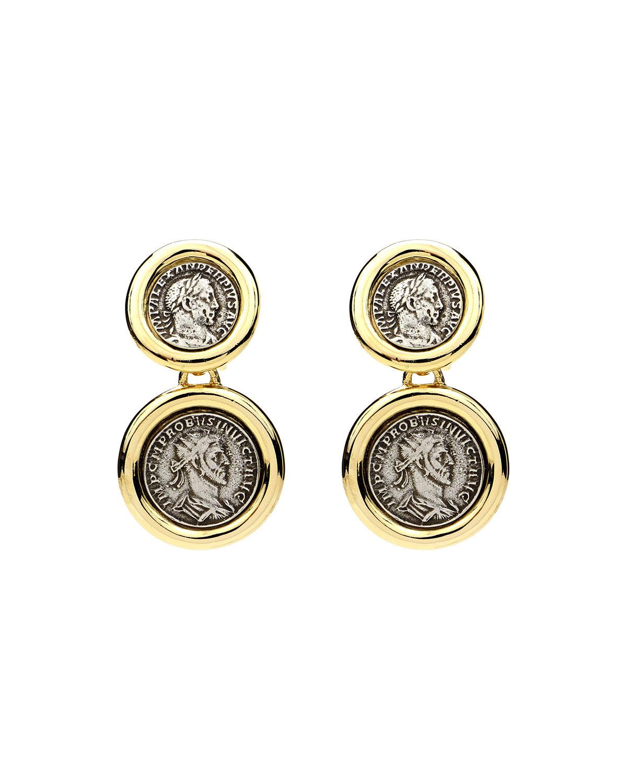 Roman 2-Coin Clip Earrings