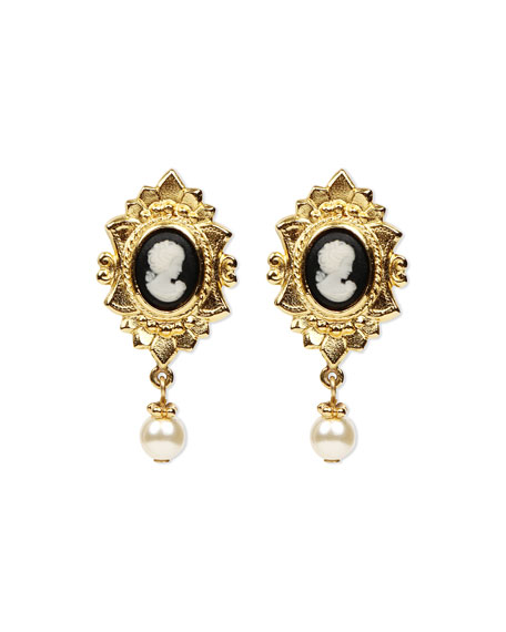 Ben-Amun Cameo Pearly Pendant Earrings