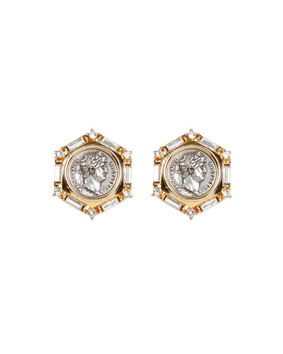 Roman Coin and Crystal Clip Earrings