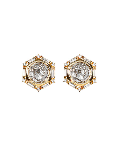 Ben-Amun Roman Coin and Crystal Clip Earrings