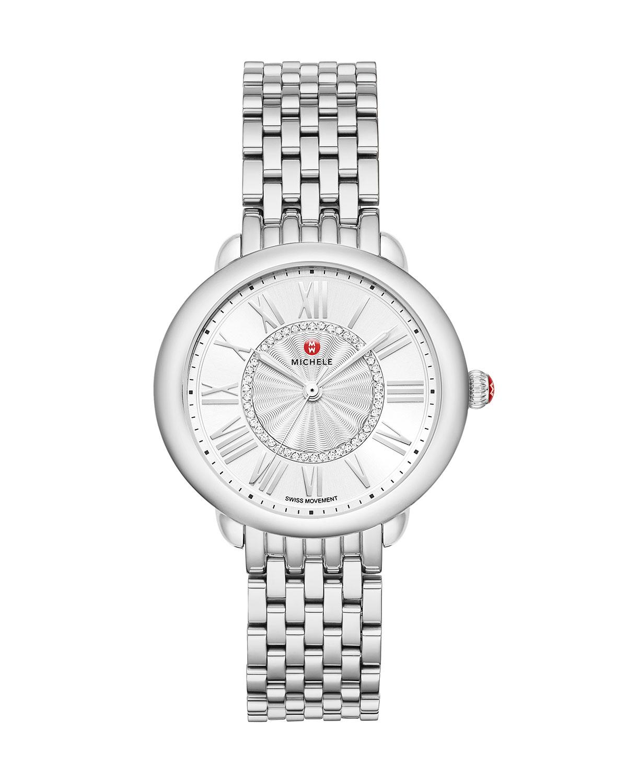 Serein Mid Diamond Dial Watch in Silver