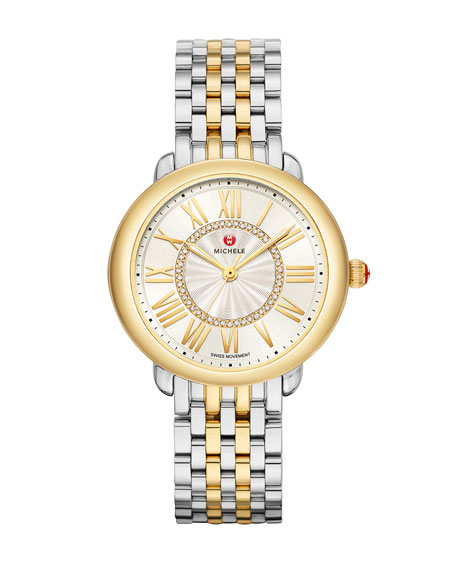 MICHELE Serein Mid Diamond Dial Watch in Silver/Gold