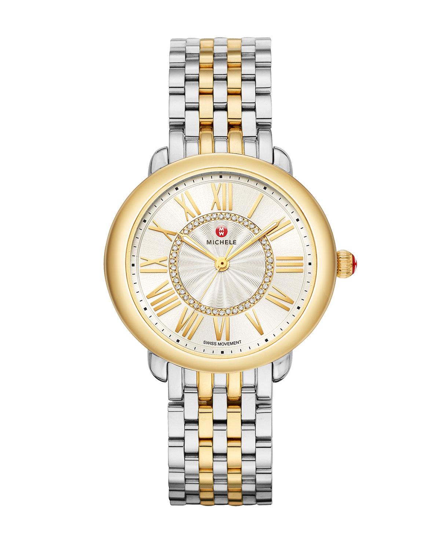 Serein Mid Diamond Dial Watch in Silver/Gold