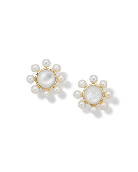 Ippolita Nova Round Post Earrings with Satellite Beads in 18K Gold with Mother-of-Pearl & Pearl